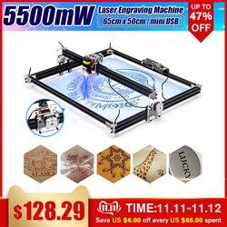 12V Mini 5500mW 65*55cm Blau CNC Laser Gravur Maschine 2 Achse DIY Home Kupferstecher Desktop holz Router/Cutter/Drucker Maschine Werkzeug