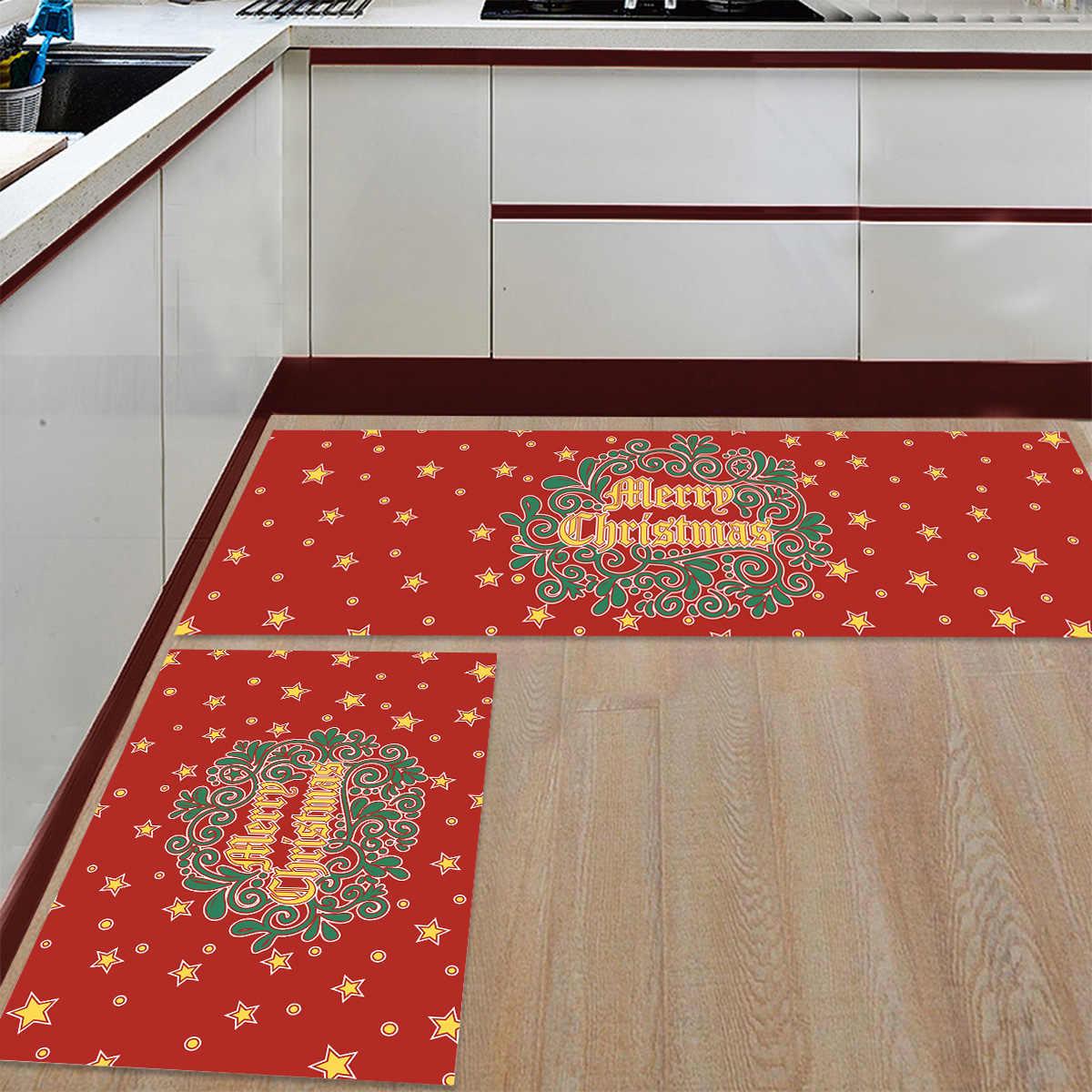 2 sztuka maty kuchenne wesołych świąt czerwone gwiazdy z boże narodzenie rośliny wycieraczki dla wejście sposób łazienka salon wycieraczki