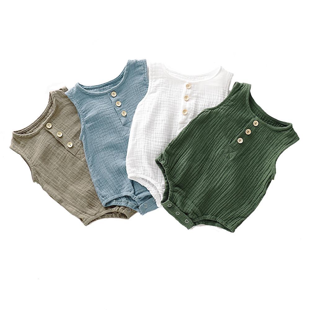 Summer Infant Baby Boys Girls Romper Muslin Sleeveless Newborn Rompers Fashion Baby Clothing