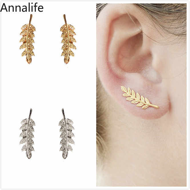 2019 Feather Earring Small Leaf Stud Earrings for Women Punk Cool Earrings Fashion Jewelry brincos