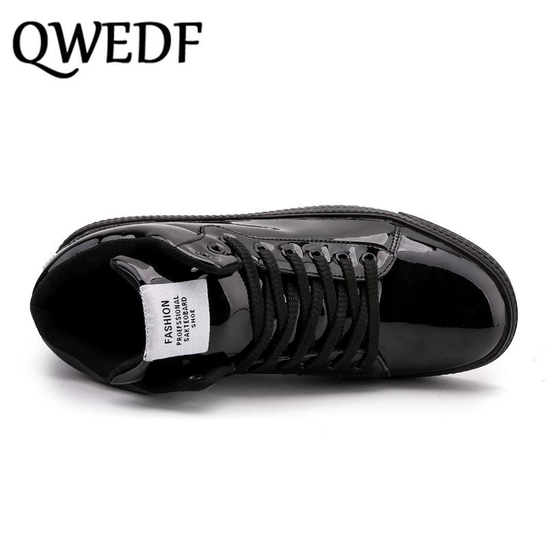 QWEDF2019 femmes chaussures vulcanisées baskets dames à lacets décontracté Basket chaussures marche Bling miroir en cuir plat argent chaussure SE-92 - 5