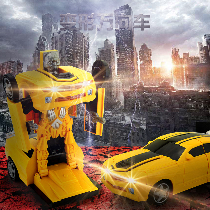 Perambulator Model Toy Light Included Light Music Multidirectional Electric Deformation Robot Toy Car