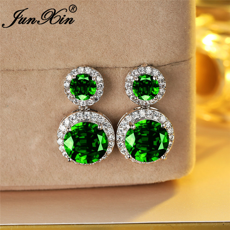 Luxury Austrian Crystal Round Earring White Gold Rainbow Green Blue Red Stone Stud Earrings For Women Wedding Studs Jewelry Gift