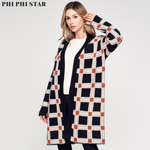 Phi Phi Star Brand fall and winter drop the shoulder fashion lattice jacquard women loose big knitted cardigans sweater dropped shoulder geometric jacquard sweater