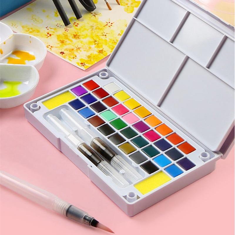 Portable Solid Watercolor Paint Set -12/18/24/36 Water Color Art Set With Water Brush Pen Watercolor Pigment Art Supplie