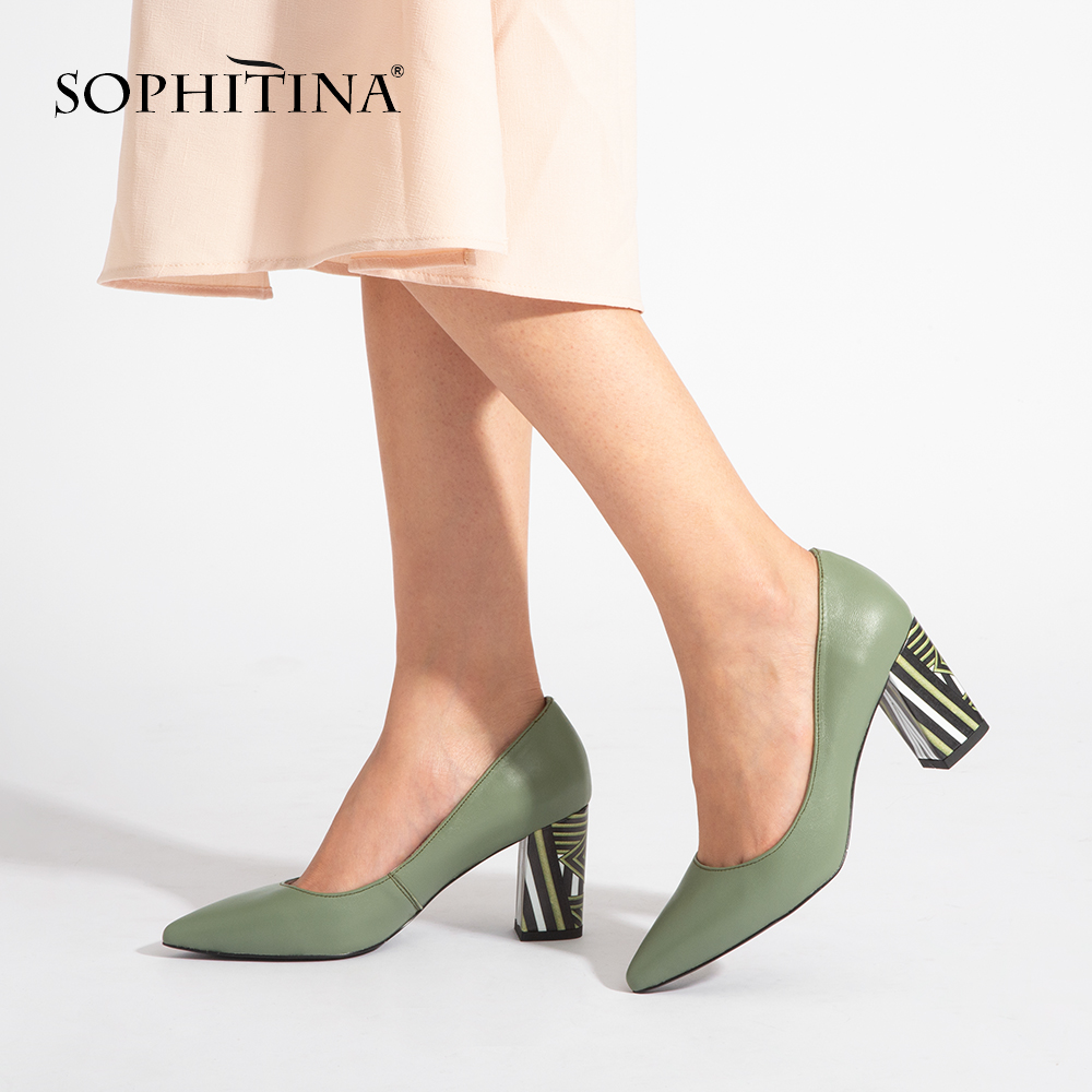 SOPHITINA Brand Pumps Genuine Leather Fashion High Square Heels Pointed Toe Working Spring Shoes Handmade Sheepskin Pumps A84