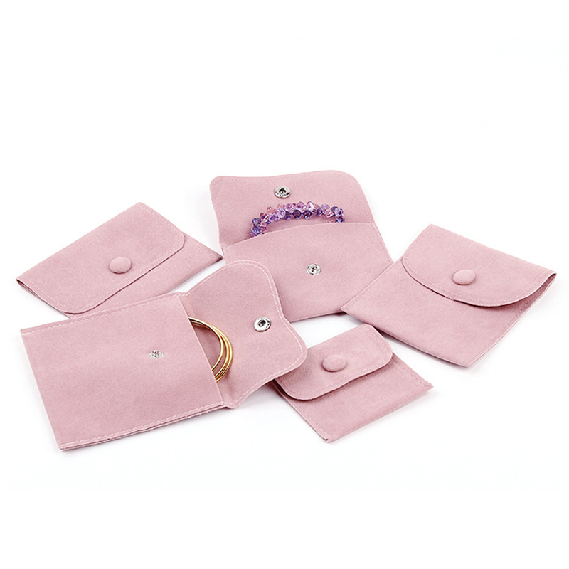 Pink Blue Jewelry Velvet Bag With Button Wedding Jewelry Packing Envelope Pouch 7x7 11x11cm Double Sided Velvet Pouch Bags