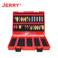 Jerry ultraleve micro área colher de truta kit spinners baubles glitters iscas de pesca conjunto variedade enfrentar caixa