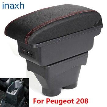 For Peugeot 208 Armrest Box 2012-2018 Storage box Car Holder Ashtray Interior accessories Retrofit parts 7USB 2017 2016 2015