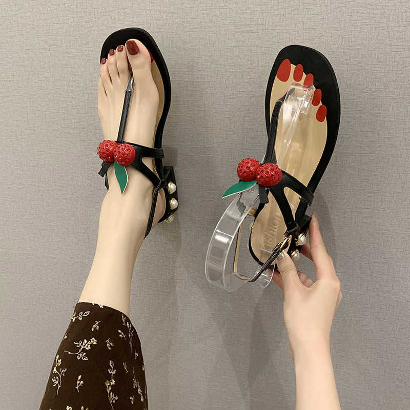 Womens Flip Flops Cherry Decor Low Block Heel Sandals Ankle Strap Pearls Shoes