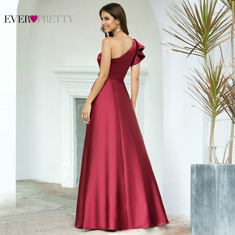 Burgundy Prom Dress Ever Pretty EP00649BD Elegant Princess A Line One Shoulder Ruffles Long Satin Formal Party Gowns Robe Femme