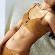 ไร้สายBraletteเซ็กซี่ชุดชั้นในผ้าฝ้ายBrasสำหรับชุดชั้นในสตรีPush Up Triangle Bra UnderwireหญิงBrassiere