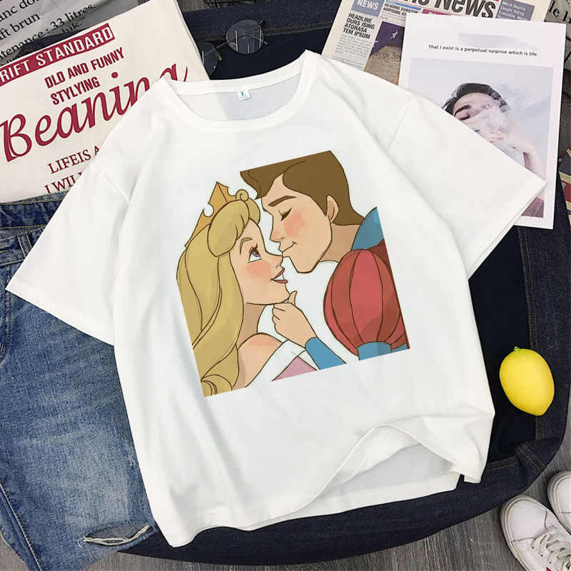 Principessa E Il Principe di Amore di Stampa T-Shirt Femminile 2020 Coppie di Estate Gli Amanti Della Maglietta Dell'annata Casual Bianco Magliette E Camicette Delle Donne Della Maglietta T Shirt