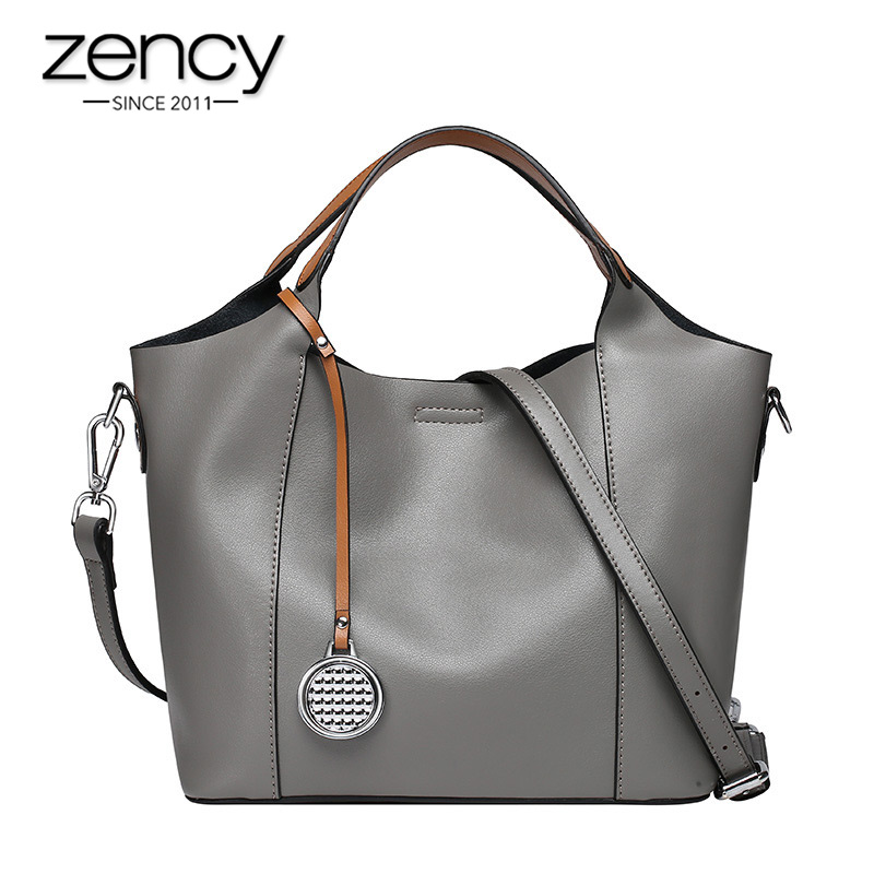 Zency 100% Genuine Leather Fashion Women Handbag Casual Tote Large Capacity Elegant Lady Shoulder Crossbody Bags Black Grey