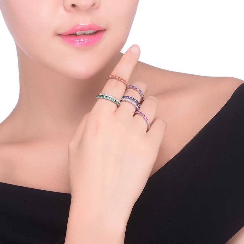 Новинка 2018, модные разноцветные вечерние кольца с цирконием для женщин, обручальное кольцо с серебряными кристаллами, свадебные кольца для девушек, ювелирное изделие, подарок
