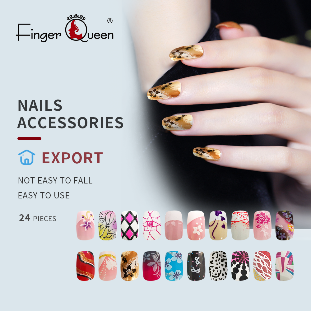 24pcs/set Fake Nail Full Cover Art Design Sexy Cute Fashion Acrylic False Nail Faux Nail Tips Part 3 Of 96 Design Patterns