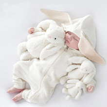 Newborns Rompers Baby Cotton Clothes Kid Spring Autumn Climbing Jumpsuit Cute Hooded Rabbit Ear Toddler Outerwear Clothing 0-18M(China)