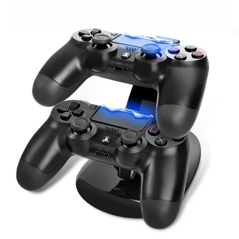 PS4 denetleyici şarj doku LED çift USB ps 4 şarj standı İstasyonu Cradle Sony Playstation 4 PS4 / PS4 Pro Slim denetleyici