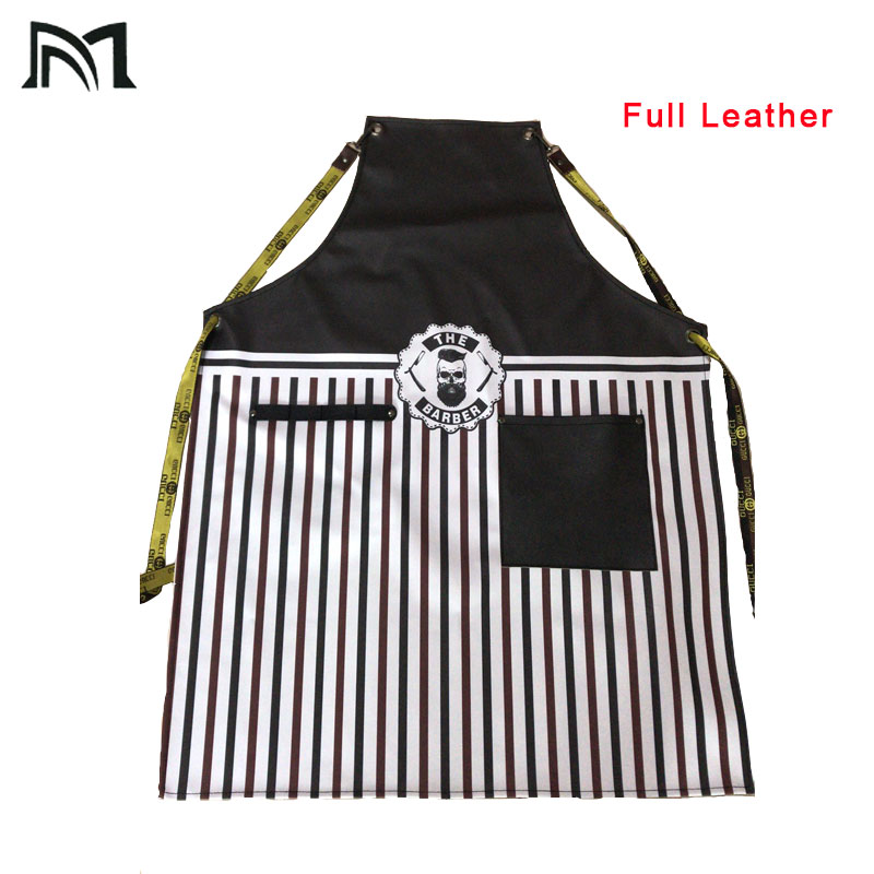 Full Leather Material Hairdressing Cape For Salon Barber 65*86CM High Quality Black Hairdresser Apron Waterproof Hairdresser
