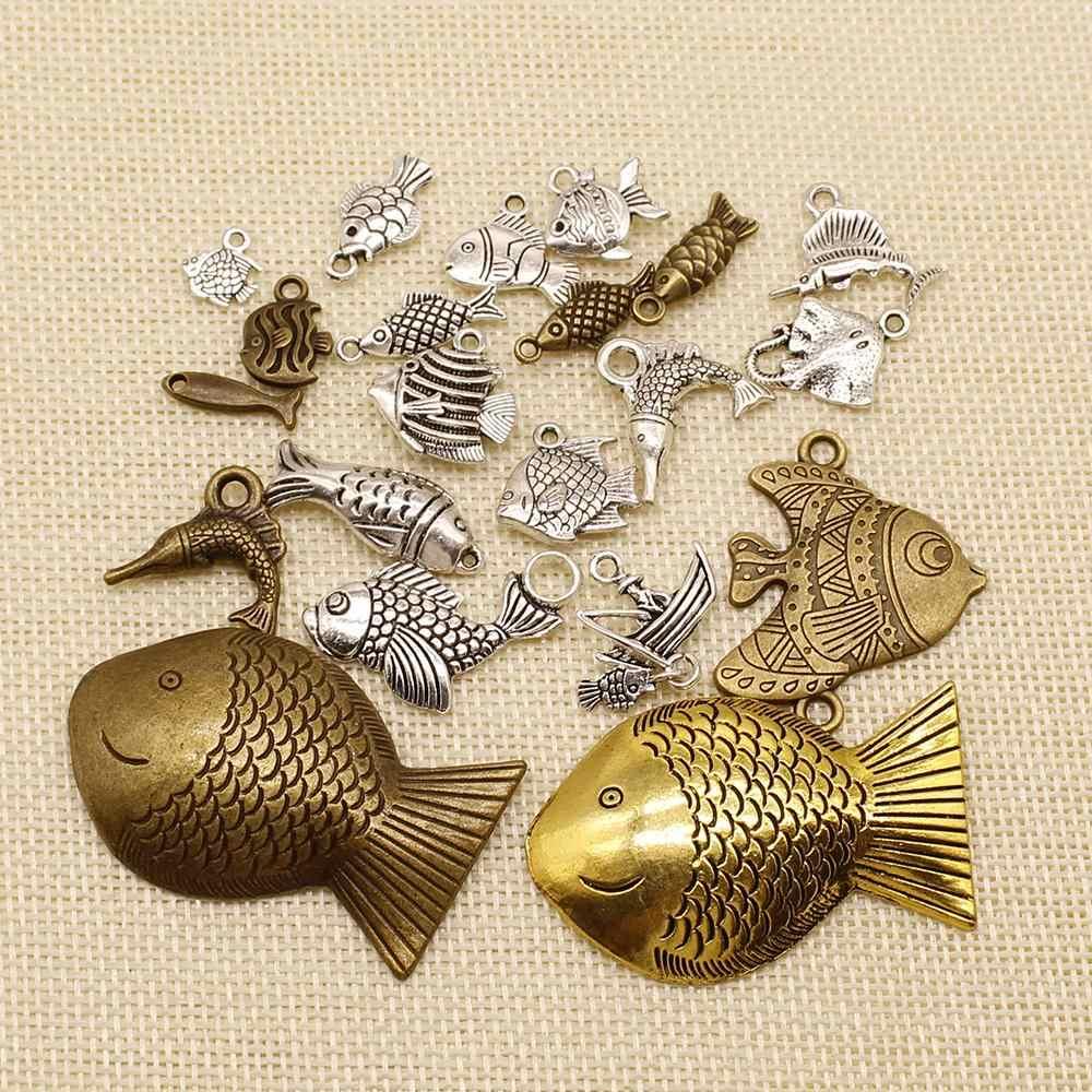 1 Piece Ccharms Fish Goldfish 14X15Mm Antique Pendant Fit Vintage Tibetan Silver Plated DIY Bracelet Necklace HJ063