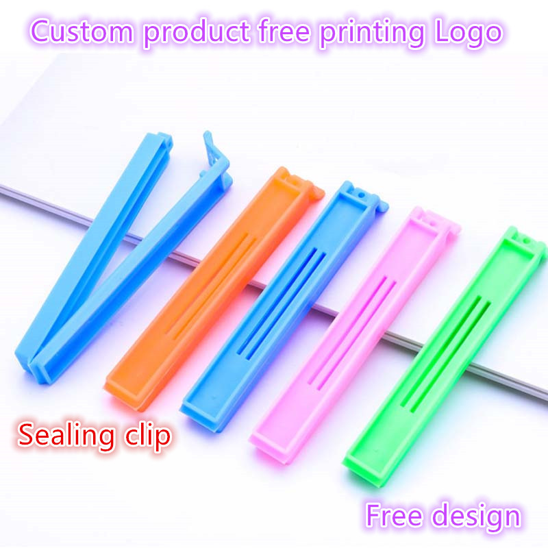 100-500PCS Custom Logo Seal Pour Food Storage Bag Clip Snack Sealing Clip Keeping Fresh Sealer Clamp Plastic Helper Food Saver