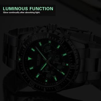 MEGIR Luxe Zakelijke Quartz Horloge Mannen Merk Rvs Chronograph Militaire Polshorloge Klok Relogio Masculino Mannelijke