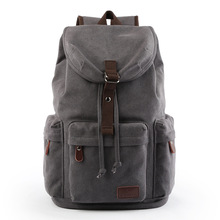 Canvas Backpack Mens Secondary Bag  Korean-style-School Casual