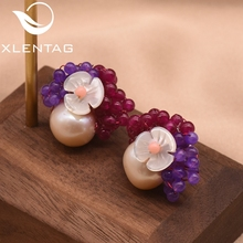XlentAg Freshwater Pearl Shell Flower Natural Purple Red Stone Earrings For Women 925 Sterling Silver Big Stud GE0017