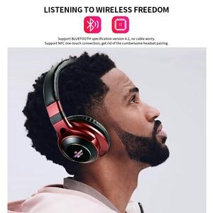 Image 2 - UKKUER LED Licht Drahtlose Bluetooth Kopfhörer 3D Stereo Kopfhörer Mit Mic Headset Unterstützung TF Karte FM Modus Audio Jack