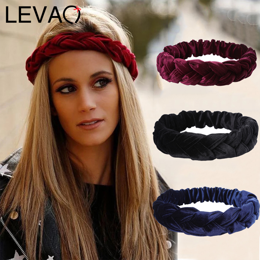 LEVAO Aututmn Winter Velvet Braid Headband Warm Elastic Hair Band Handmade Wide Size Turban Headwear Women Makeup Headwrap