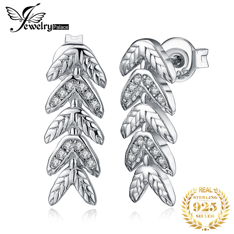 JewelryPalace Cubic Zirconia Filigree Leaf Stud Earrings 925 Sterling Silver 2020 Fashion Party Long Earrings For Women Jewelry