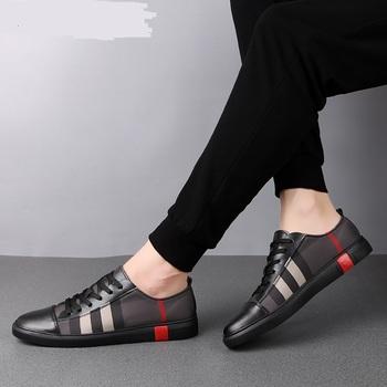 Modne męskie oddychające buty deskorolkowe męskie modne trampki wysokiej jakości buty sportowe na co dzień oryginalne skórzane buty tanie i dobre opinie NAKD ADIK Szycia Stałe Dla dorosłych NONE Wiosna jesień Lace-up Mieszkanie (≤1cm) Pasuje prawda na wymiar weź swój normalny rozmiar