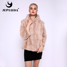 JEPLUDA abrigo de piel auténtica para mujer, Chaqueta corta de piel auténtica de visón, informal, con capucha, suave, cálida, para invierno, gran oferta