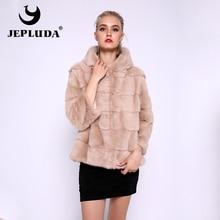 Jepluda新スタイリッシュなショート毛皮付きソフト暖かい冬のリアルホット販売リアル毛皮のコートの女性