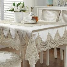 Mantel bordado de lujo de Europa, mantel de mesa de comedor, cubierta de mesa de encaje, paño grueso de terciopelo dorado retro, funda de tela para silla