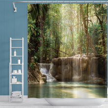 Waterproof Polyester fabric Bath Curtain Forest Landscape for Bathroom curtain Green Plant Shower curtain With Hooks peacock feather fabric shower curtain with hooks