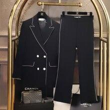 2020 высокого качества черные брюки костюмы feminine; Повседневная