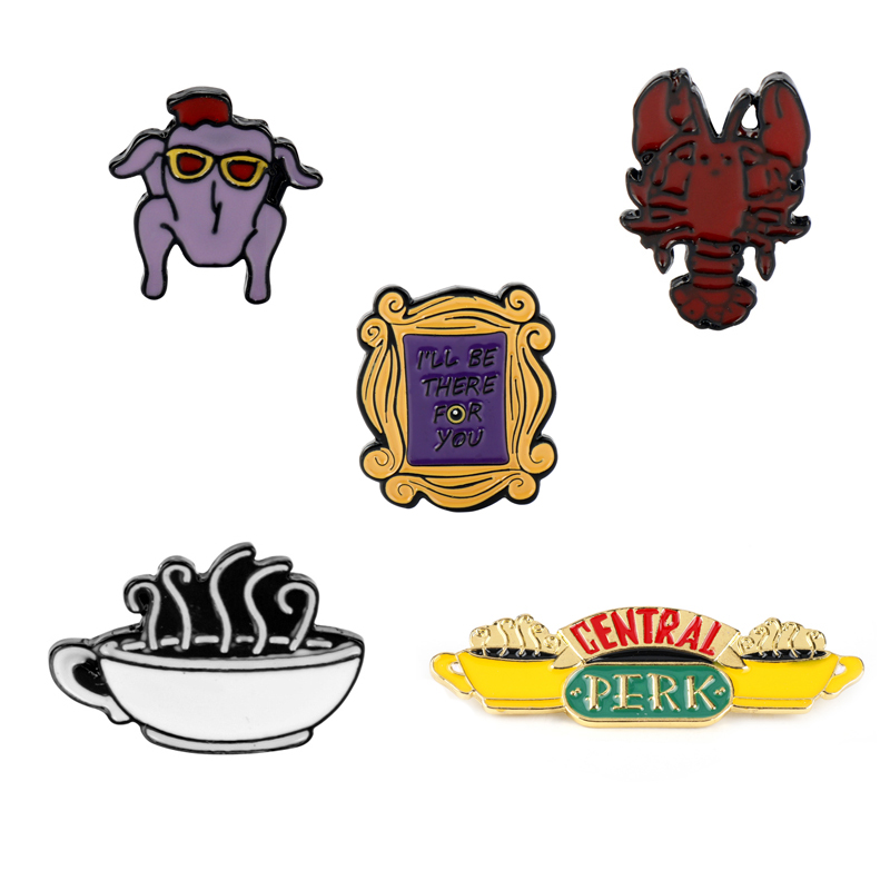 Friends TV Show Purple Yellow Door Pins Central Park Logo Backpack Pride Clothes Medal Bag Shirt Hat Badges Brooches Men Women(China)