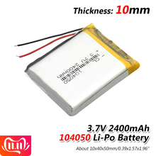 1/2/4 Pieces 3.7 V Volt 2400mah Rechargeable Battery 104050 Li-ion Polymer Li Po Batteries For Solar Lamp Power Bank Radio GPS(China)