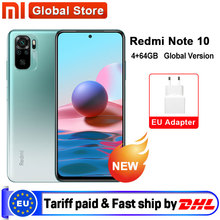 Versão global xiaomi redmi nota 10 4gb 64gb telefone snapdragon 678 amoled display 48mp quad camera 33w