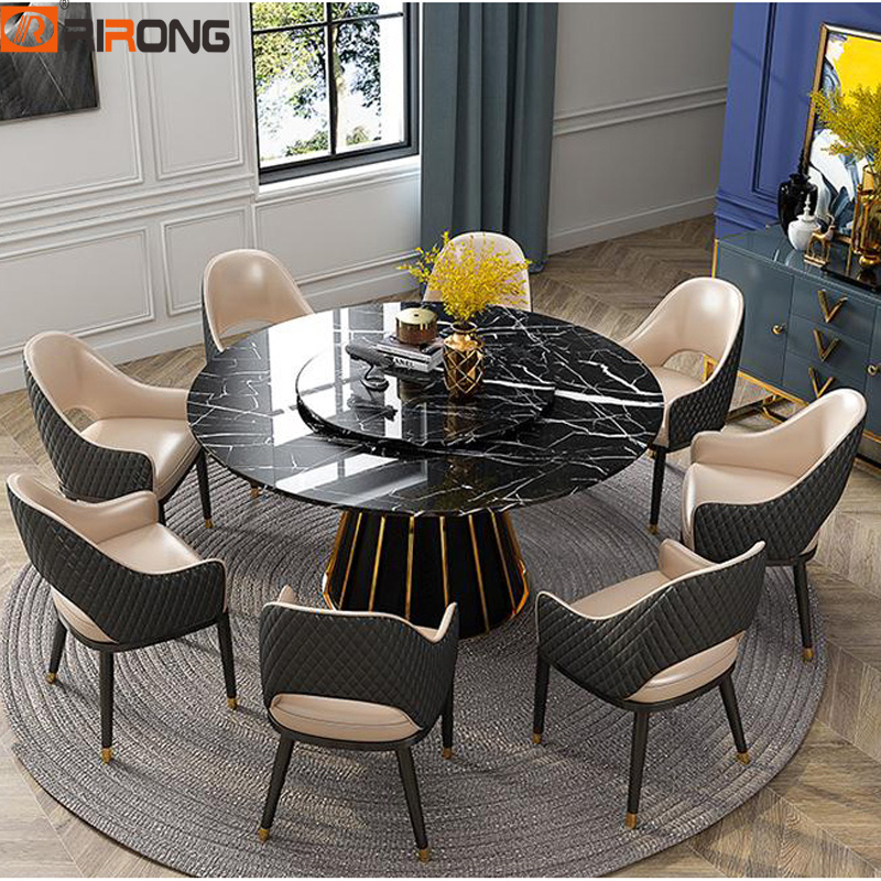 Italy Luxury Simple Design Marble Stone Black Home Dining Room Furniture Round Kitchen Dining Table|Dining Tables| |  - title=