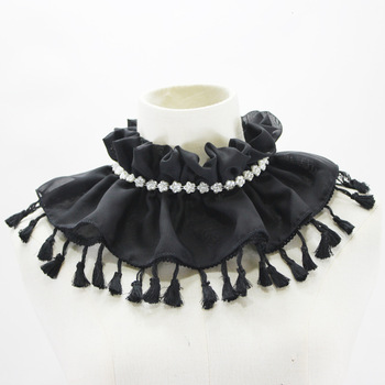 Fungus Stand Chiffon Tassels Dickie Set Pearl Decoration Lead Fake Collar Detachable Necklace