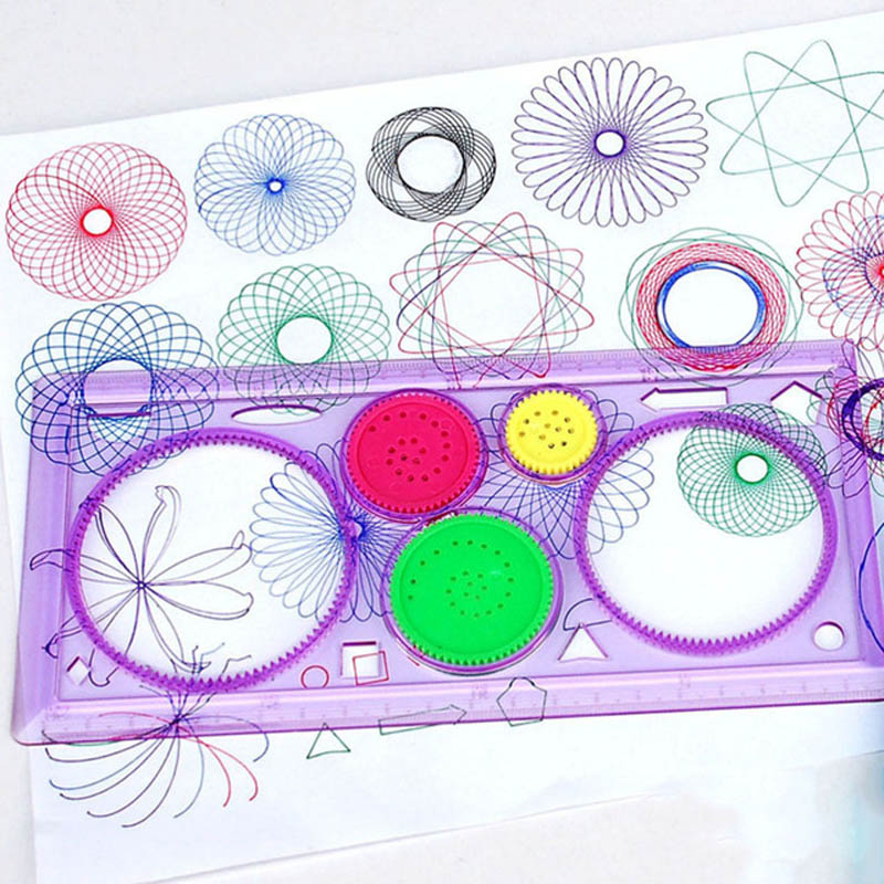 1set Spirograph Drawing Toy Magic Variety Creative Draw Spiral Design Educational Painting Toys For Children Kids Random Color