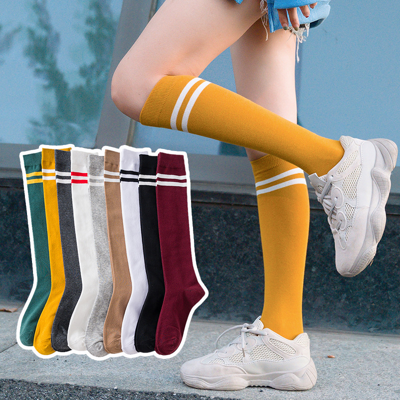 Fashion Trend Socks Women Color Panel Two Bars Knee Socks Christmas Socks Cotton