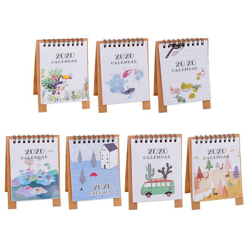 2020 Calendar Hand Drawing Cartoon Fresh Mini Desktop Paper Dual Daily Schedule Table Planner Yearly Agenda Organizer