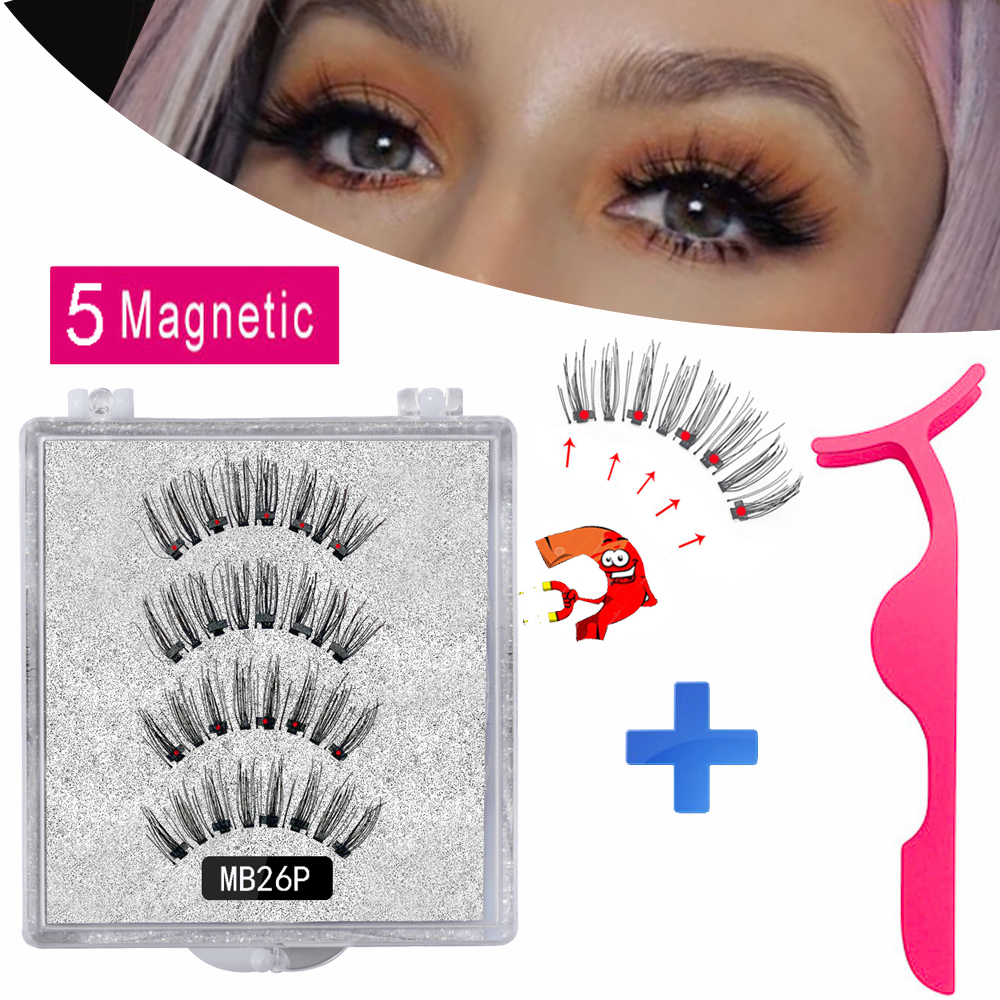 MB New 5 Magnetic Eyelashes Handmade Magnet Mink Eyelashe Natural Thick Grafting Extended False Lashes With Tweezers Eye Makeup