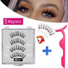 MB Neue 5 Magnetische Wimpern Handmade magnet Nerz eyelashe Natürliche Starke Pfropfen Erweitert Falsche Wimpern Mit Pinzette Augen Make-Up