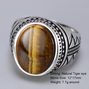 Image 2 - Bague en argent solide pour hommes, bague en argent rétro rétro, avec pierres naturelles doeil de tigre, bijoux turcs 925