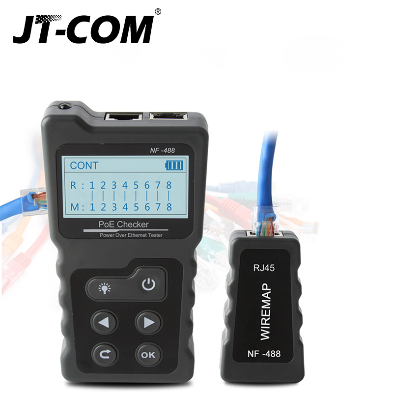 Brand New  Ethernet CAT5 CAT6 LAN Network Cable PoE Switch Tester Detector NF-488 LCD Display Network Cable Tester Network Tools 4