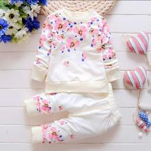 Baby Girl Clothing Sets Fashion Long Sleeve Print Flower Toddler T-shirt Pants 2PCS/SET 1-4 Years Kids Girls Wear tracksuit set стоимость